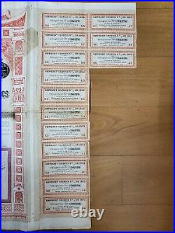 Rare China Chinese Government 1903 500 Franc 5% Bond Loan With 14 Coupons