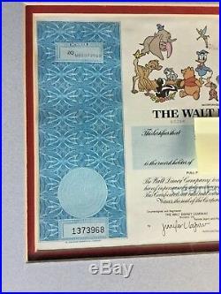 Rare-Vintage Framed Walt Disney Stock & Mickey Sericel Frank Thomas/Olie Johnson