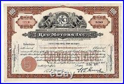 Reo Motors, Inc. Stock Certificate