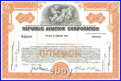 Republic Aviation Corporation Seversky Aircraft Corporation stock certificate