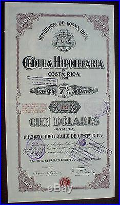 Republica de Costa Rica 7% Bond Cedula Hipotecario 100$ ORO USA uncanc. Coupons