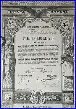 Roumania, Romania, 1929 Renta Romana 1000 Gold Lei 4%, 1000 Lei Aur