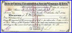 SCARCE 1884 Cornelius Vanderbilt II $1,000 RR Receipt signed
