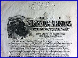 SHANNON-ARIZONA RAILWAY Co. PROOF BOND VG PAHV79