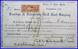 Saratoga & Schenectady Rail Road 1863 Railroad Stock Certificate, Civil War NY