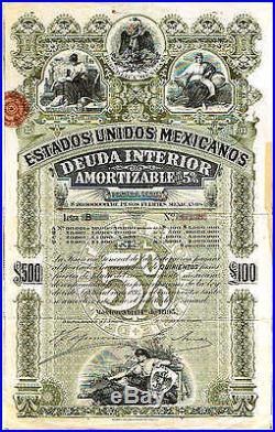 Scripophilia scripophily Estados Unidos de Mexico Deuda Interior 100 P