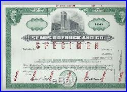 Sears Roebuck specimen stock certificate