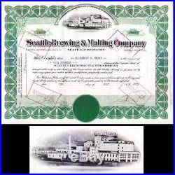 Seattle Brewing & Malting Company WA 1937 Stock Certificate
