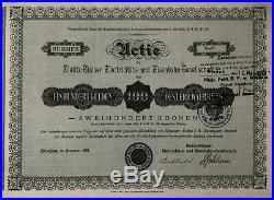 Selten Gründer Actie 1896 der Bielitz-Bialaer E- und Eisenbahn-Gesellschaft