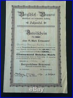 Selten original Bergschloss Brauerei 1924 Salzwedel Aktie Küpper Wicküler 149