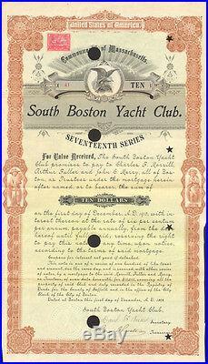 South Boston Yacht Club 1898 Massachusetts $10 bond certificate