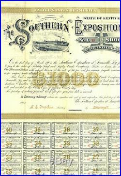 Southern Exposition $1,000 Bond Certificate. Louisville, Kentucky