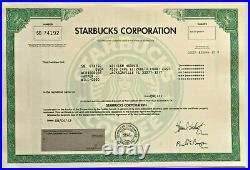 Starbucks original collectible coffee stock certificate