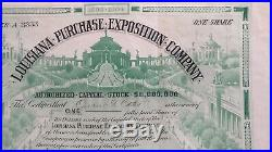 Stock Certificate Louisiana Purchase Exposition Company One Share, issued1904