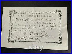 Stock Certificate Saint Vrain Town Jefferson Territory (Colorado) 1859