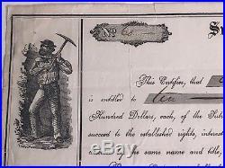 Sutro Tunnel Company Stock Certificate Signed Adolph Sutro 1868 Nevada Comstock