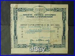 TONKIN Societe Franco ANNAMITE Textile & Exportation SHARE NAM-DINH 1926