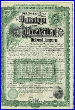 Talladega and Coosa Valley Railroad. Bond Certificate