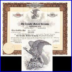 Templar Motors Company OH 1920 Stock Certificate