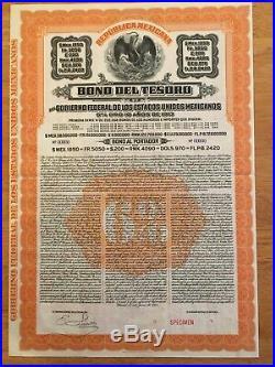 Tesoro 1950 Republica Mexicana Bono del Tesoro £200 1913 Specimen