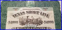 Texas Short Line Railway Company Bond Certificate
