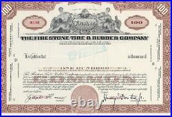 The Firestone Tire & Rubber Company Specimen Stock Certificate Harvey Firestone