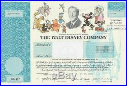 The Walt Disney Company Issued Stock Certificate Uncancelled Michael Eisner