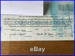 The Walt Disney Company Vintage 1998 Stock Certificate 2 Shares