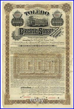 Toledo Electric Street Railway Company. SPECIMEN. Bond Certificate