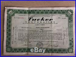 Tucker Corporation Stock Certificate