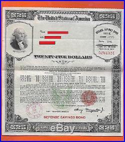 UNITED STATES Savings Bond Series E DEFENSE $25.00 Nov. 1941 Q4344243E WIDE frame