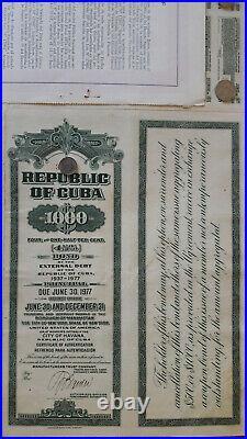 US caribbean island bond 1937 external debt 4.5%, 32 coupons uncancelled ABNC