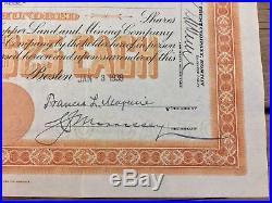 Union Copper Land And Mining Company Michigan Stock Certificate 1939 Orange