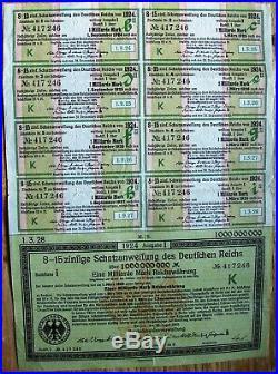 Vintage German 1,000,000,000 Billion Marks bond 1923 uncancelled all coupons