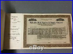 Vintage Palisades Park Lumber & Supply Company Stock Certificate Book New Jersey