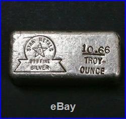 Vintage Star Metals Rough Pour Silver Bar 10.66 Oz Stamped Bar. 999 Fine Silver