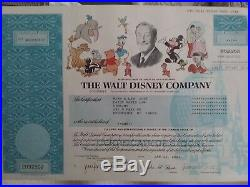 Walt Disney Company, vintage stock certificate, uncancelled