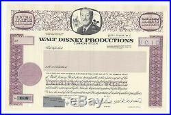Walt Disney Productions Stock Certificates withMickey Mouse in vignette