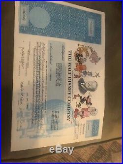 Walt Disney specimen stock certificate 16 Shares