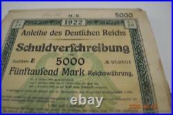 Warehouse find100 consecutive near crisp1922 German 5000 mark uncancelled