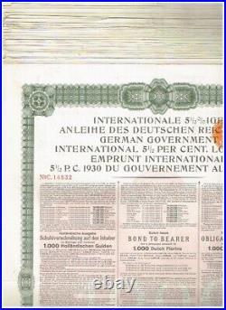 Wholesale-Lot 57 German Government Int. Loan (Young-Loan) 1930, 1000 Dutch Flori