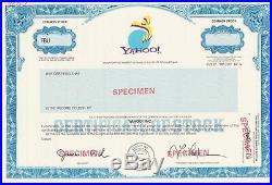 Yahoo Specimen Stock Certificate Rare Internet Computer Tech Industry California
